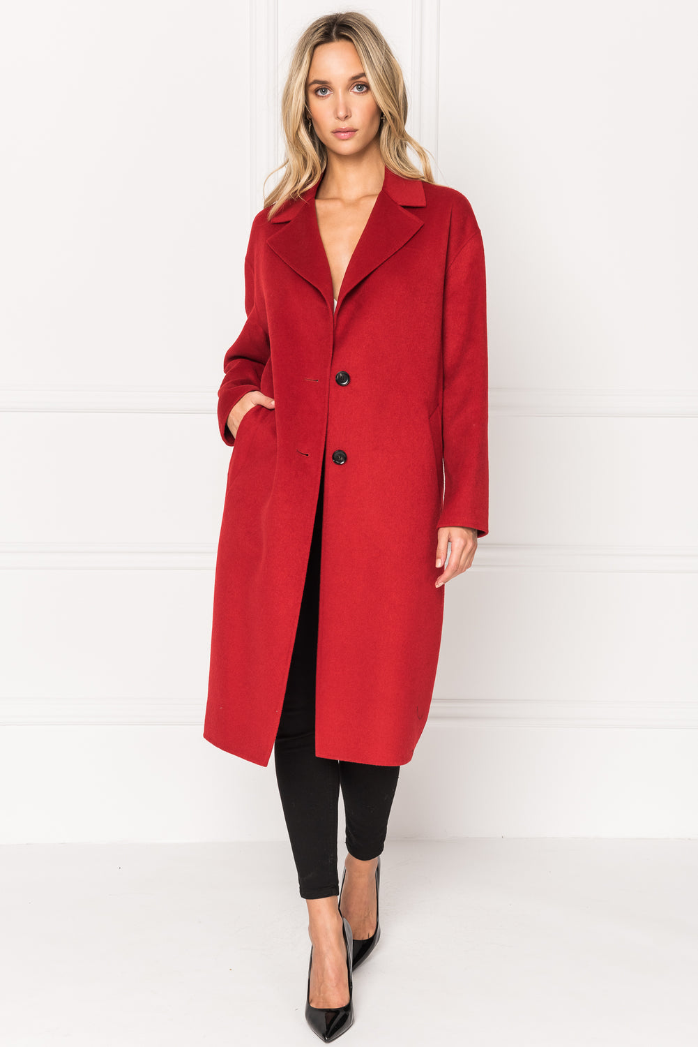 COPPOLA Red Oversized Cocoon Wool Coat