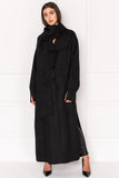 CORDELIA Black Oversized Wool Coat with Removable Scarf
