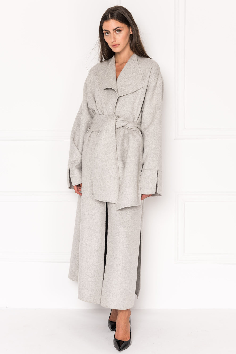 CORDELIA Oversized Wool Coat With Removable Scarf