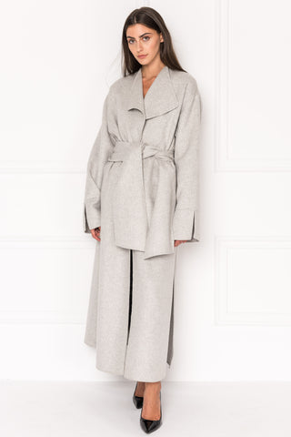 CORDELIA Grey Oversized Wool Coat With Removable Scarf