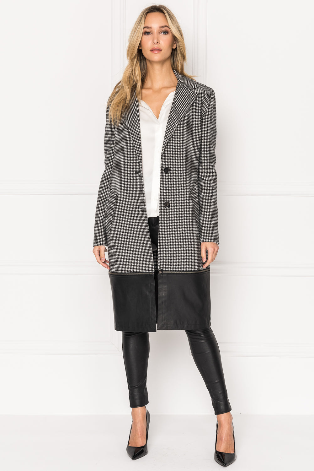 CORINA Wool Coat With Removable Leather Bottom