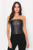 DAVINA Black Leather Bustier