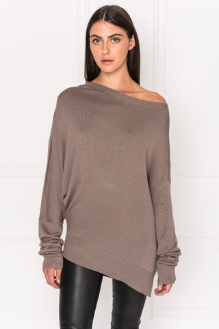 DAYA Taupe Asymmetric Lightweight Knit Top