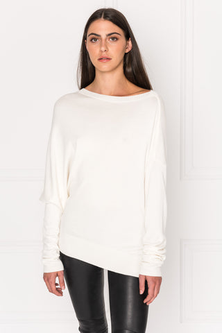 DAYA Cream Asymmetric Lightweight Knit Top