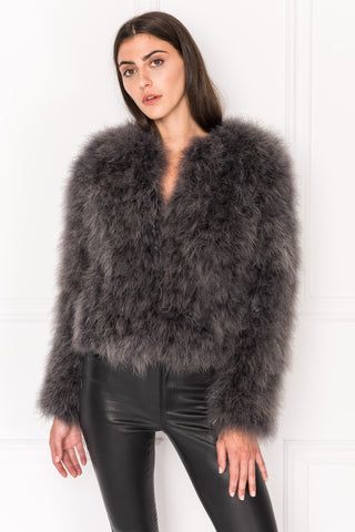 DEORA Charcoal Feather Jacket