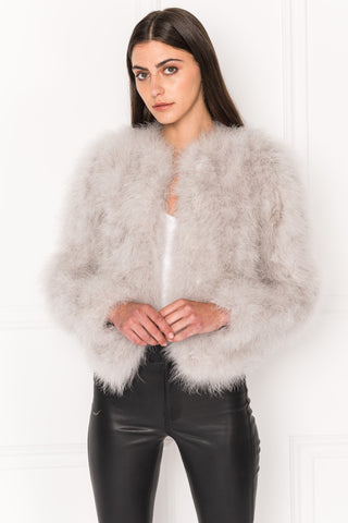 DEORA Grey Feather Jacket | DEORA Veste De Plumes Grise