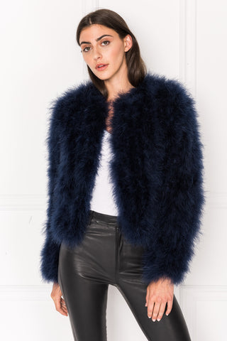 DEORA Navy Feather Jacket