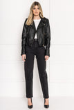 DONNA Black Leather Biker Jacket