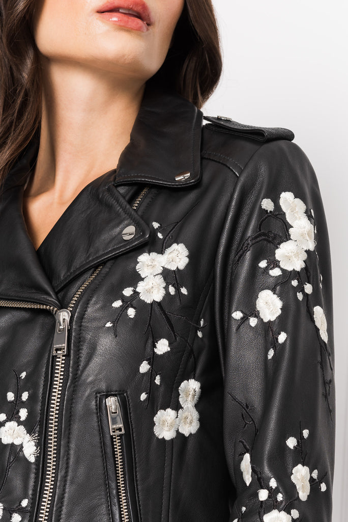 DONNA Embroidered Signature Leather Biker Jacket