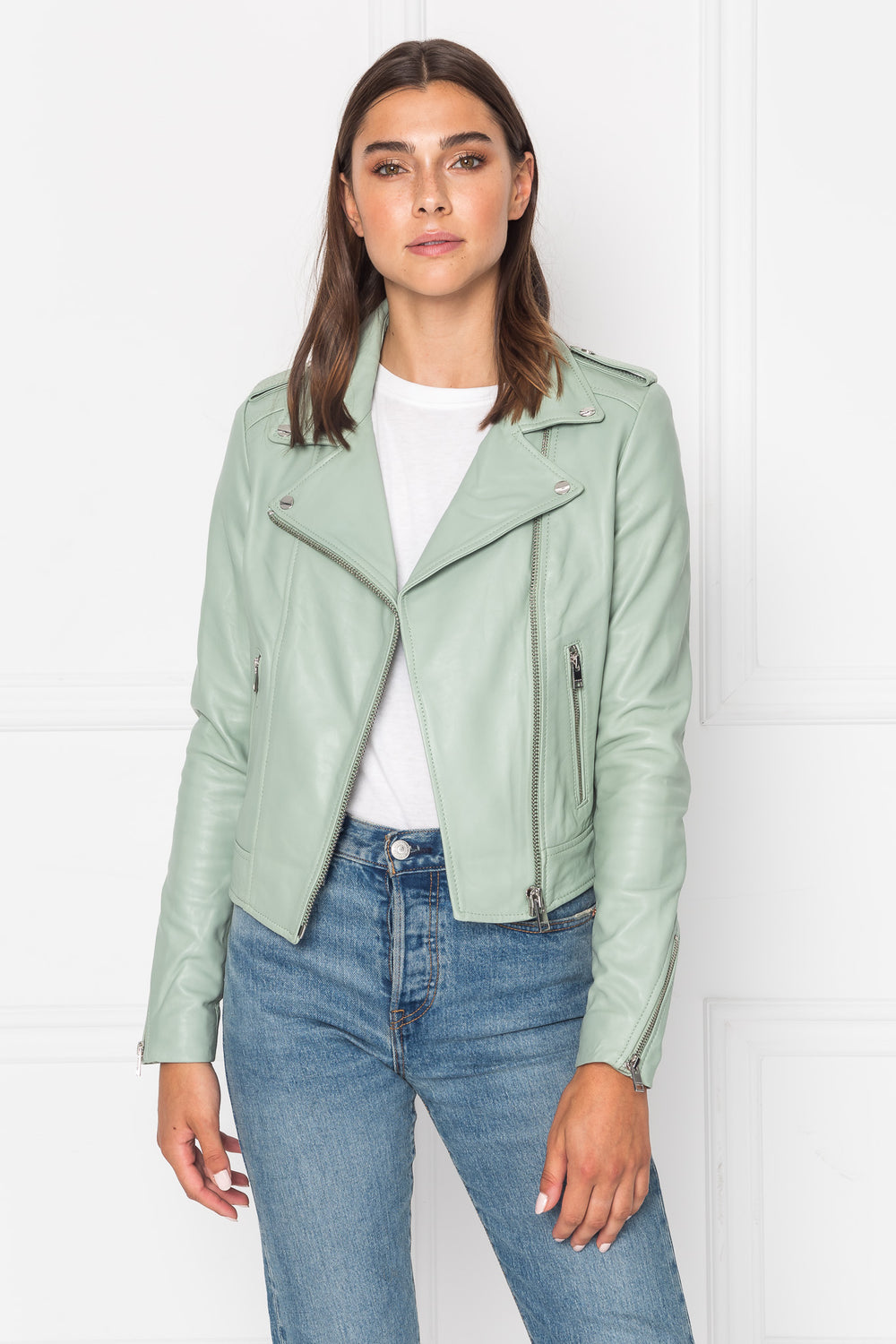 DONNA Classic Leather Biker Jacket