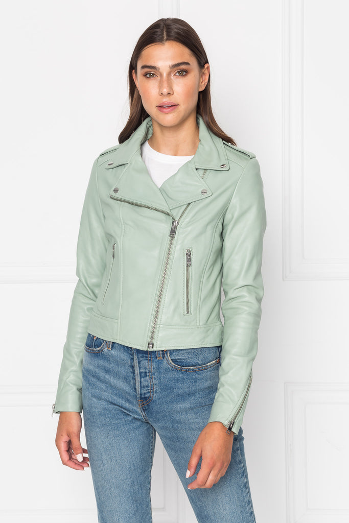 DONNA Dusty Mint Leather Biker Jacket