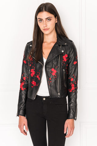 DONNA Embroidered Leather Biker | DONNA Veste de cuir brodée