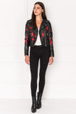 DONNA Embroidered Classic Leather Biker Jacket