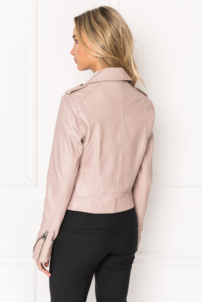 DONNA French Pink Signature Leather Biker Jacket