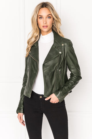 DONNA Forest Signature Leather Biker Jacket