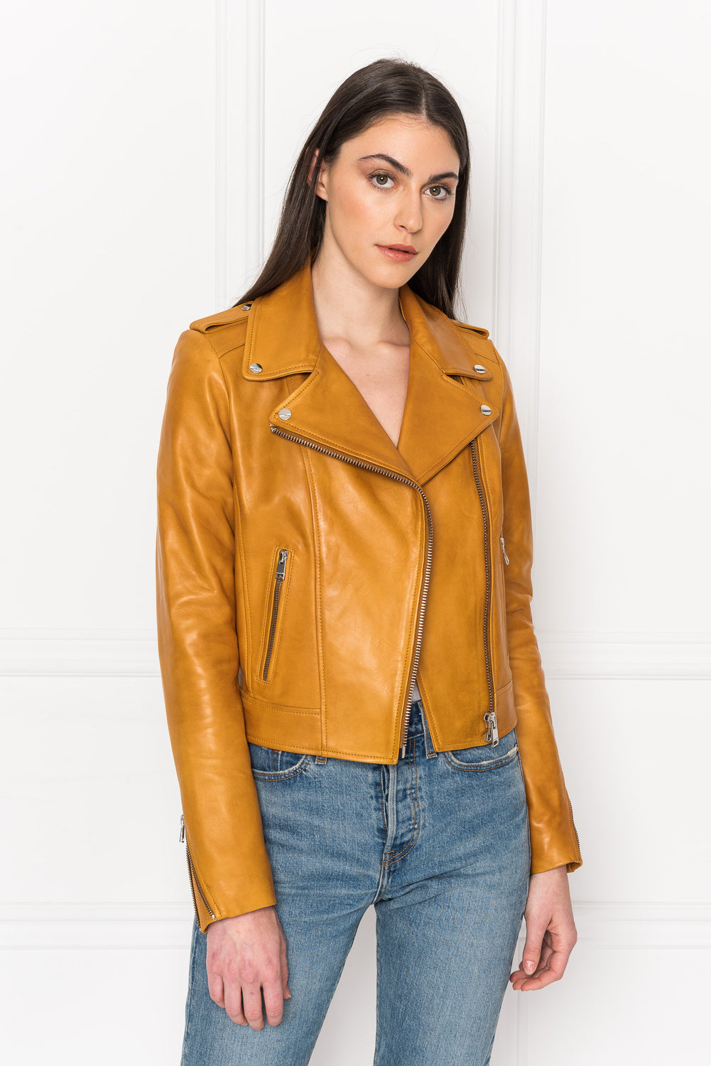 DONNA Honey Signature Leather Biker Jacket