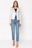 DONNA Metallic White Leather Biker Jacket