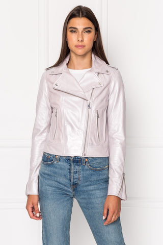 DONNA Metallic Leather Biker Jacket