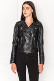DONNA Dark Navy Classic Leather Biker Jacket