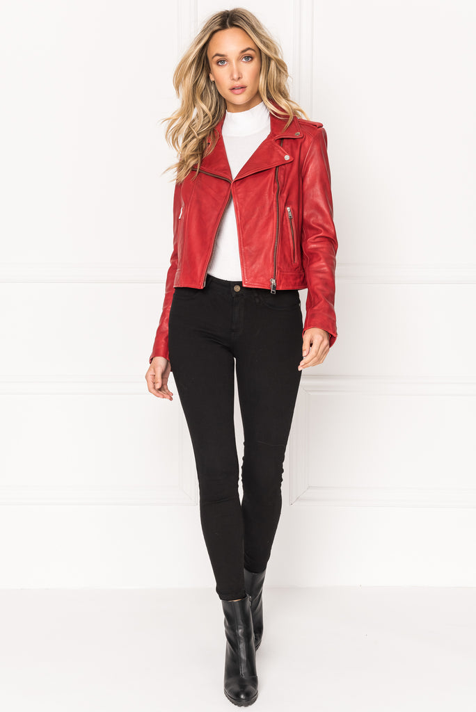 DONNA Ruby Signature Leather Biker Jacket