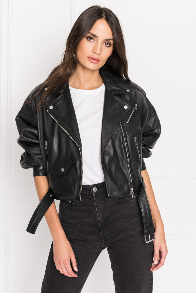 DYLAN Drop Shoulder Crop Leather Biker Jacket