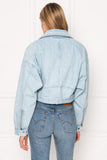 DYLAN Denim Drop Shoulder Crop Biker Jacket