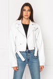 DYLAN 80's White Leather Biker Jacket