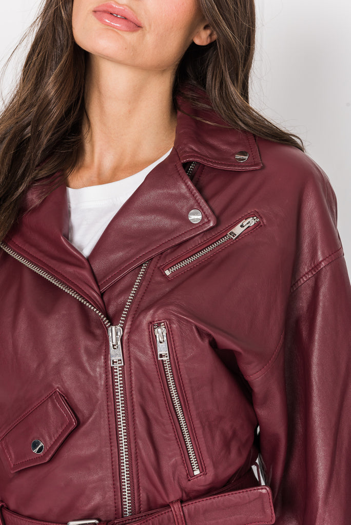 DYLAN 80's Wine Leather Biker Jacket