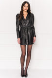 EARLINE Puff Sleeve Leather Dress
