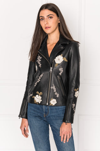 ETANA Grey Embroidered Floral Leather Biker Jacket