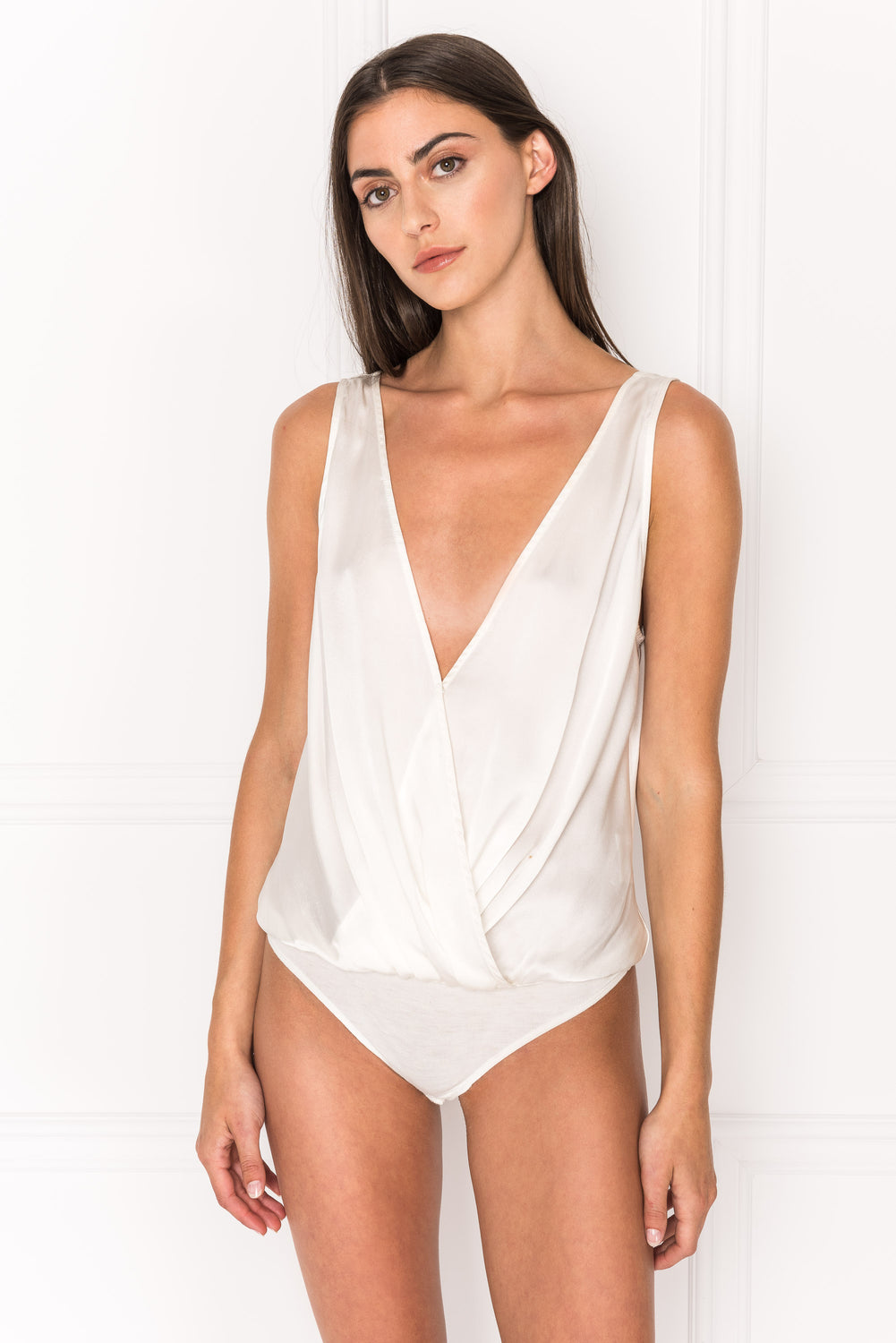 FALA White Deep-V Silk Bodysuit
