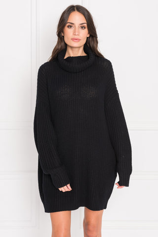 FATE Black Turtleneck Sweater Dress