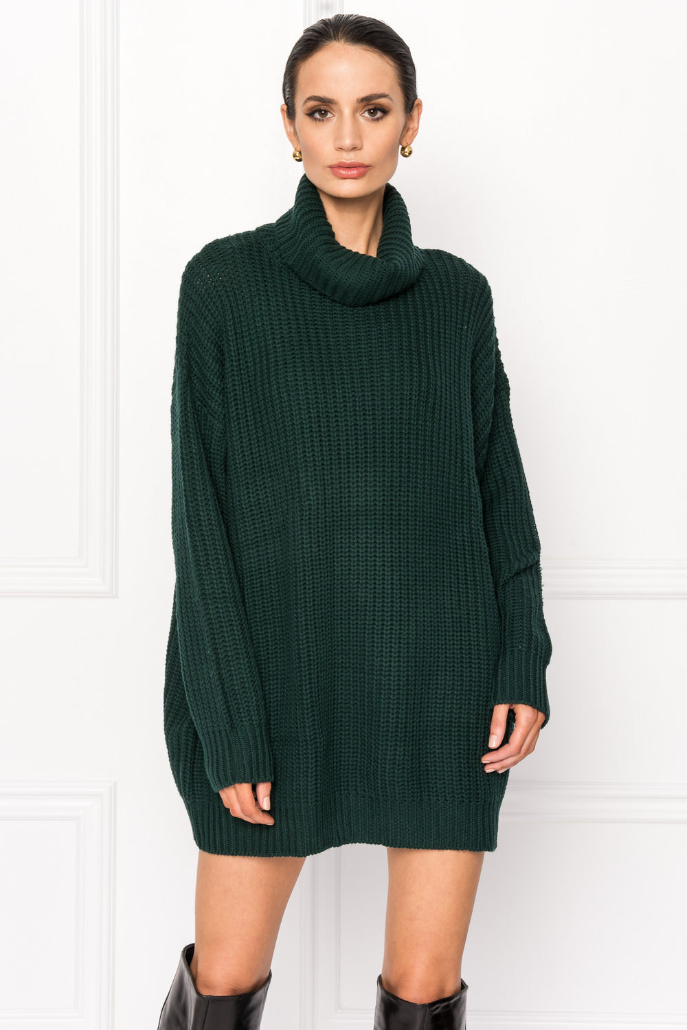 FATE Green Turtleneck Sweater Dress