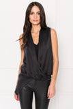 FLORA Black Draping Silk Top