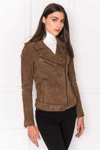 GAELLE Brown Suede Biker Jacket
