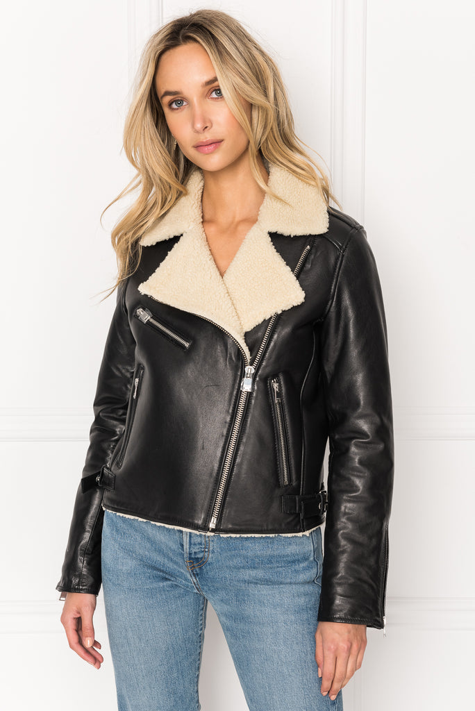 GALIENE Sherpa Collar Leather Biker Jacket