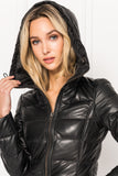 GALINA Leather Down Filled Jacket with Hood