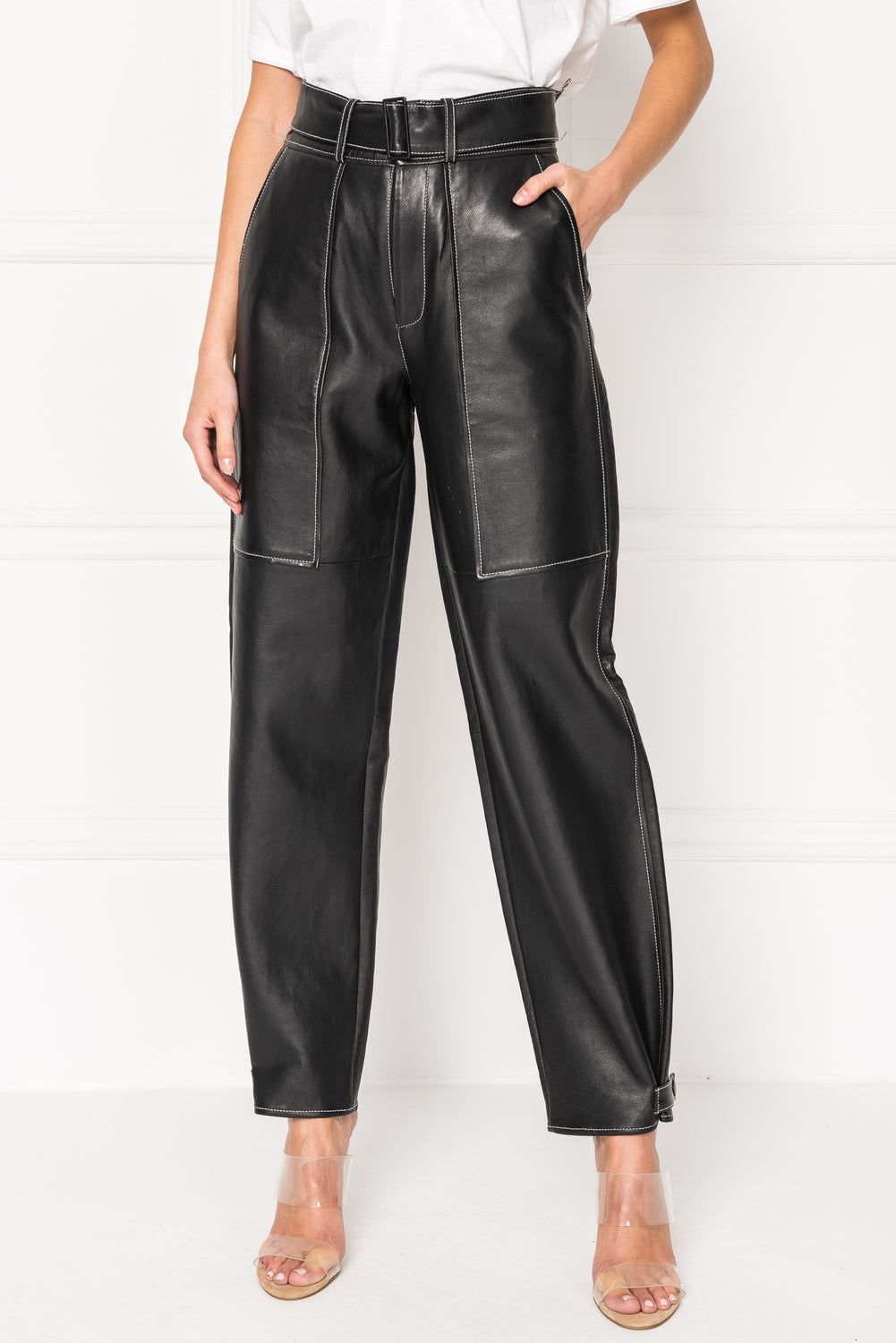 GARBI High Waisted Leather Carpenter Pant