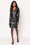 GINGER Black Leather Dress