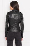 HARPER Black Fitted Leather Biker Jacket