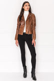HARPER Brown Fitted Leather Biker Jacket