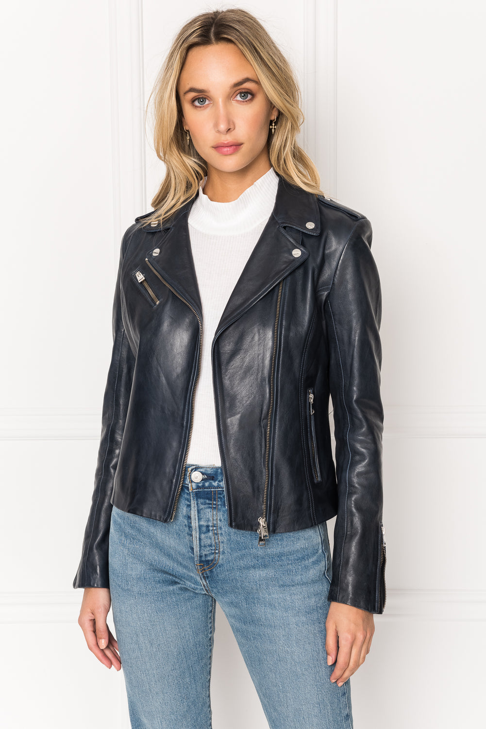 HARPER Fitted Leather Biker Jacket
