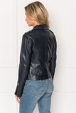 HARPER Navy Fitted Leather Biker Jacket