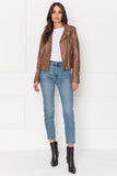 HARPER Tan Fitted Leather Biker Jacket