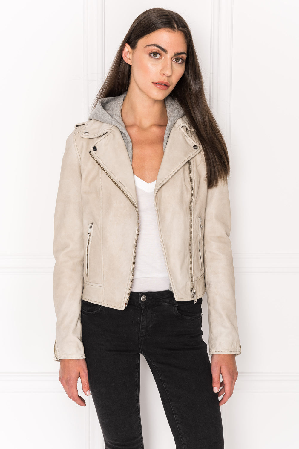 HOLY Sand Leather Biker Jacket with Removable Hood