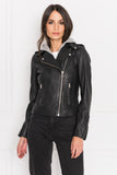 HOLY Black Leather Biker Jacket with Removable Hood