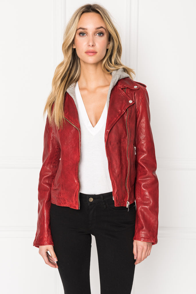 HOLY Rio Red Leather Biker Jacket with Removable Hood