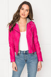 HOLY Shocking Pink Leather Biker Jacket with Removable Hood