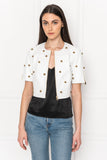 INDIRA White Studded Crop Jacket