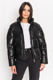 IRIS Black Leather Puffer Jacket